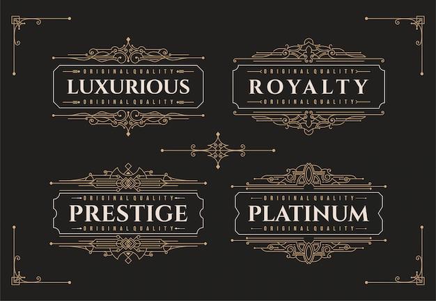 Modello di progettazione di logo di decorazione ornamento cornice fiorisce di lusso