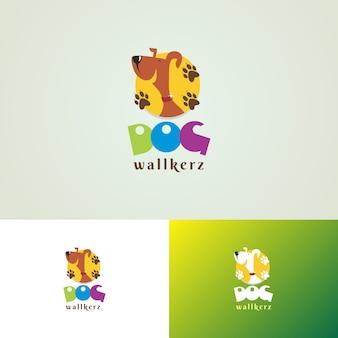 Modello di progettazione di logo di dog walkers