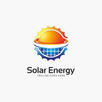 Modello di progettazione di logo di energia solare moderna astratta