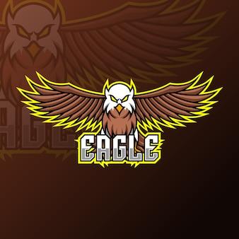 Modello di progettazione di logo di gioco della mascotte dell'aquila di volo