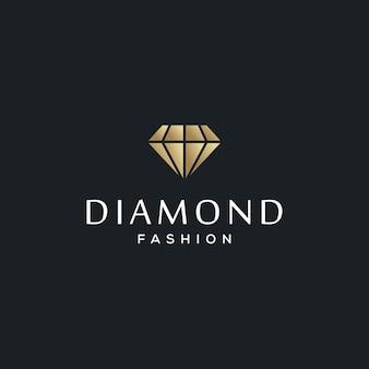 Modello di progettazione di logo di gioielli con diamanti