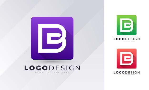 Modello di progettazione di logo di lettera b iniziale colorato