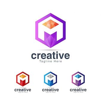 Modello di progettazione di logo di lettera m esagonale