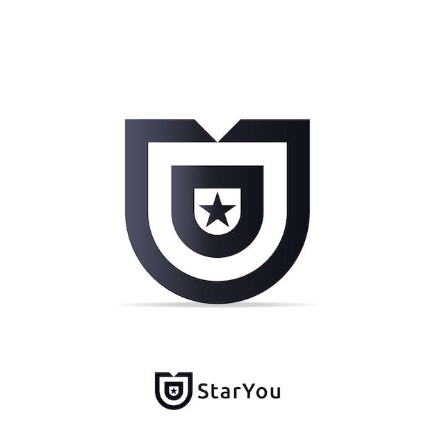 Modello di progettazione di logo di lettera u con segno zodiacale