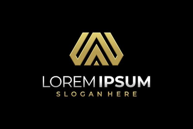 Modello di progettazione di logo di lettera w con icona di colore oro