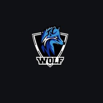Modello di progettazione di logo di lupo e-sport