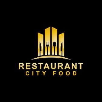 Modello di progettazione di logo di lusso dell'alimento della città della costruzione del ristorante