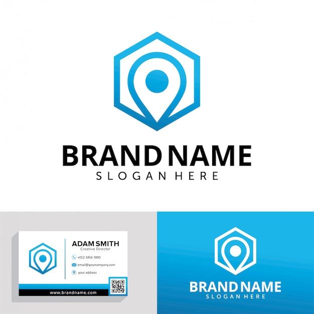 Modello di progettazione di logo di pin esagonale