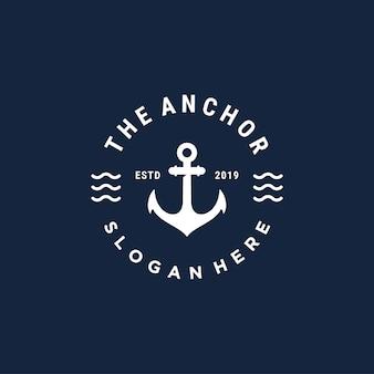 Modello di progettazione di logo di vettore di ancoraggio vintage bedge