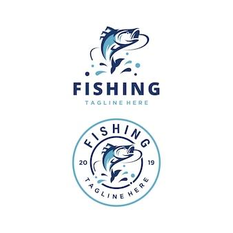 Modello di progettazione di logo di vettore di avventura di pesca