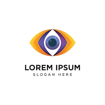 Modello di progettazione di logo di visione dell'occhio