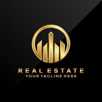 Modello di progettazione di logo immobiliare di lusso 3d.