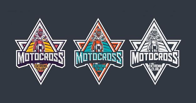 Modello di progettazione di logo vintage distintivo premium club estremo di motocross