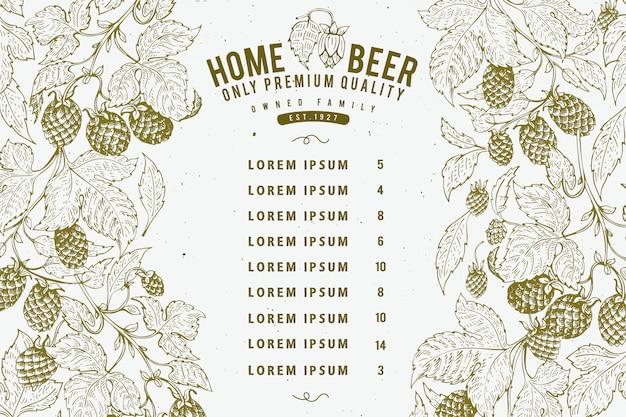 Modello di progettazione di menu di birra. sfondo di birra d'epoca