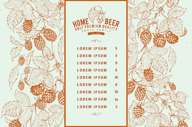 Modello di progettazione di menu di birra