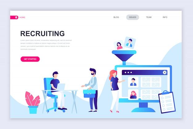 Modello di progettazione di pagina web piatto moderno di reclutamento