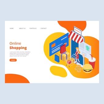 Modello di progettazione di pagina web shopping online