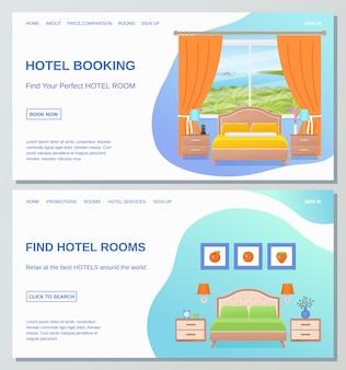 Modello di progettazione di pagine web di camere d'albergo. camera da letto piatta.
