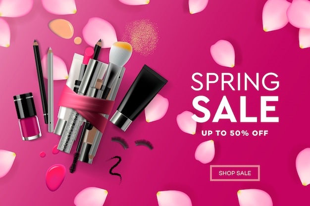 Modello di progettazione di pagine web per cosmetici di vendita di primavera