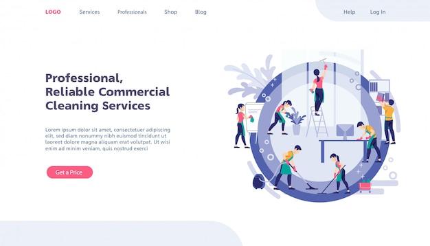 Modello di progettazione di pagine web. servizio di pulizia concetti moderni piatti per sito web. team di servizio di pulizia che lavora in ufficio.