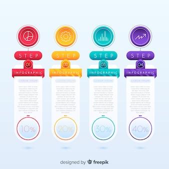 Modello di progettazione di passaggi infographic colorato