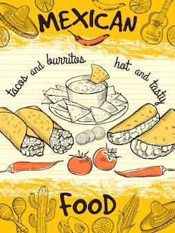 Modello di progettazione di poster con cibo messicano. alimento messicano della bandiera dell'annata, aletta di filatoio dell'insegna del ristorante.