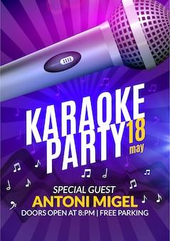 Modello di progettazione di poster di invito a una festa karaoke. progettazione di volantini notturni karaoke. concerto vocale musicale