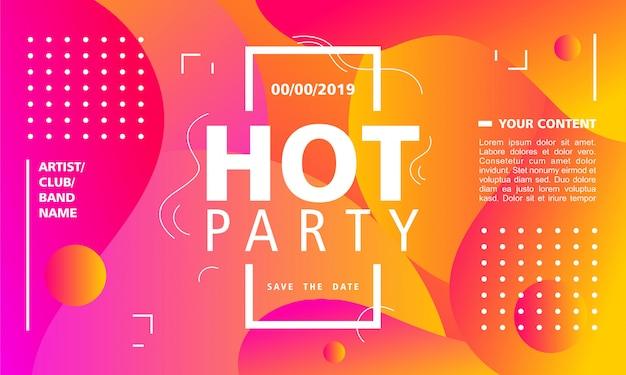 Modello di progettazione di poster festa hot su sfondo astratto moderno