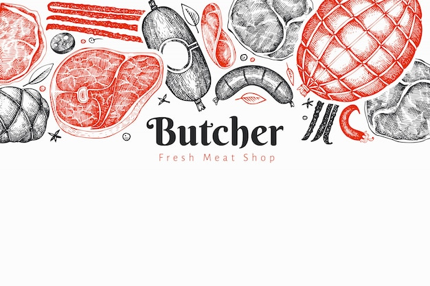 Modello di progettazione di prodotti a base di carne vintage vettoriale.