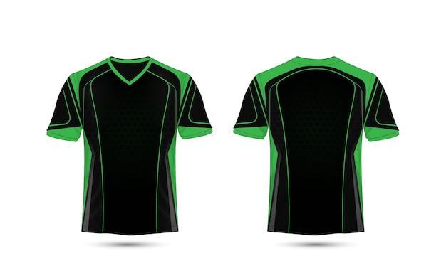 Modello di progettazione di t-shirt e-sport layout verde e nero
