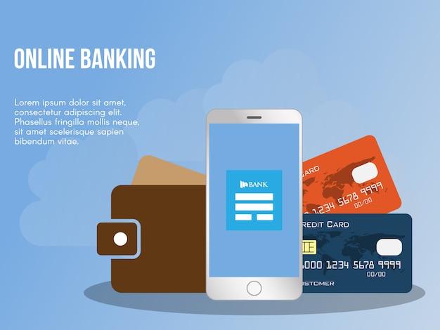 Modello di progettazione di vettore dell'illustrazione di concetto di attività bancarie online