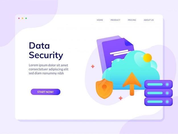 Modello di progettazione di vettore della pagina di destinazione del sito web di sicurezza dei dati