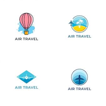 Modello di progettazione di vettore di logo di viaggio aereo