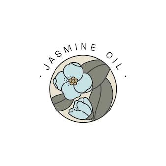Modello di progettazione ed emblema - olio sano e cosmetico. gelsomino naturale, olio biologico. logo colorato in stile lineare alla moda.