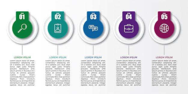Modello di progettazione etichetta creativa infografica