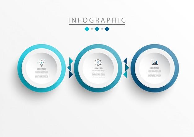 Modello di progettazione etichetta infografica con icone e 3 opzioni o passaggi.