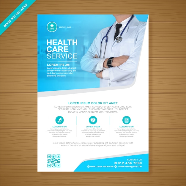 Modello di progettazione flyer sanitario e medico di copertura aziendale a4