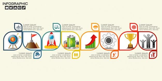 Modello di progettazione freccia infographic otto passaggi