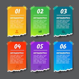 Modello di progettazione iinfographics, banner di stile carta strappata 6 opzioni.
