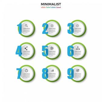 Modello di progettazione infografica 3d con icone