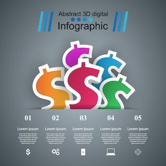 Modello di progettazione infografica 3d e icone di marketing. icona del dollaro. icona di denaro.