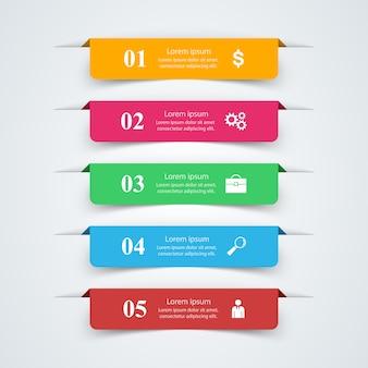 Modello di progettazione infografica 3d e icone di marketing.