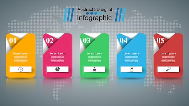 Modello di progettazione infografica 3d e marketing
