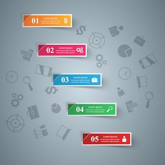 Modello di progettazione infografica 3d ed elementi di marketing