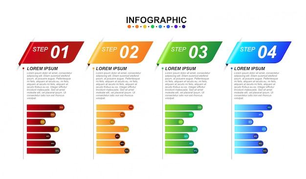 Modello di progettazione infografica 3d per affari 4 opzioni passo con grafico.