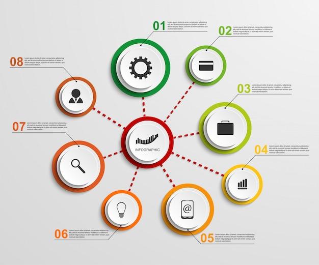 Modello di progettazione infografica astratta.