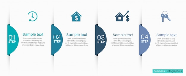 Modello di progettazione infografica aziendale con 4 opzioni