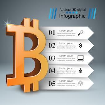 Modello di progettazione infografica bitcoin e icone di marketing.