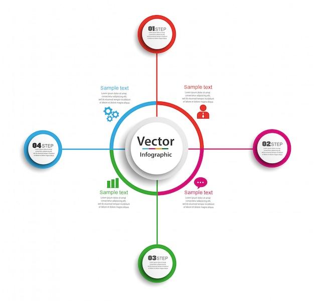 Modello di progettazione infografica cerchio con passaggi 4 per le imprese