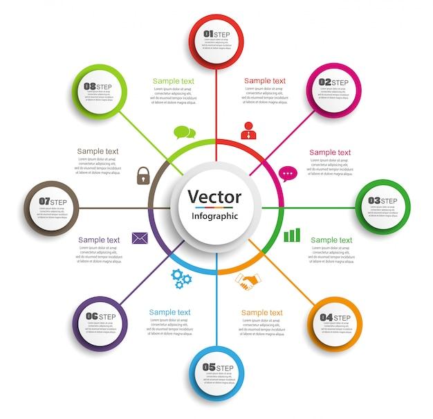 Modello di progettazione infografica cerchio con passaggi 8 per le imprese
